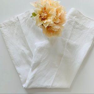 Eileen Fisher White 100% Linen Flowy Pants
